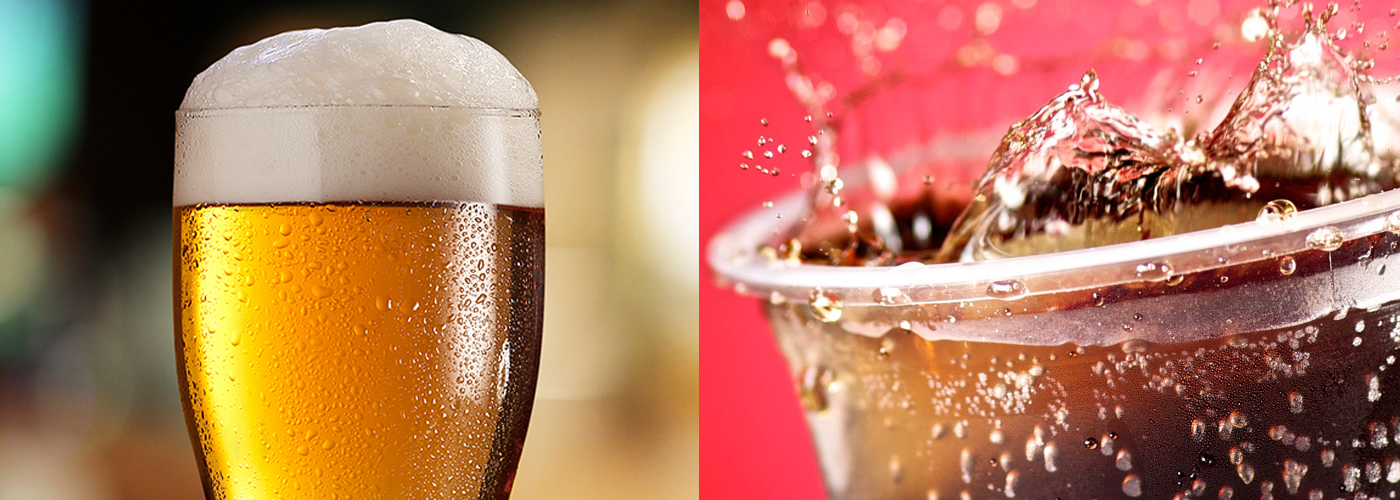 cerveja e refrigerante